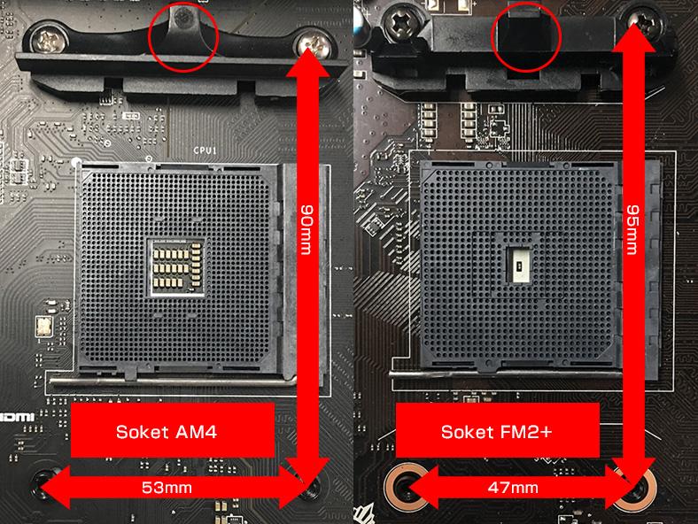 参考画像:左がSocket AM4、右がSocket FM2+です。