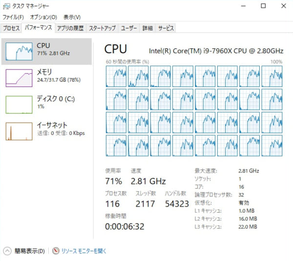 Core i9-7960X CUDA使用エンコード時