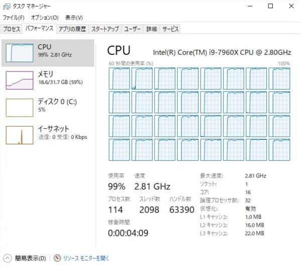 Core i9-7960X ソフトウエアエンコード時