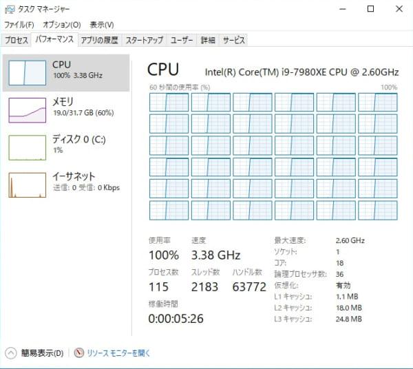 Core i9-7980XE ソフトウエアエンコード時