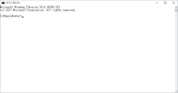 背景色と文字色を変更したコマンドプロンプト画面