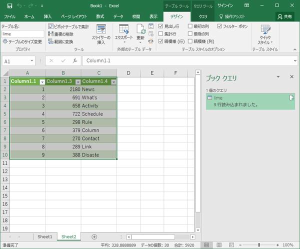 クエリエディターで設定したデータがExcelの新しいワークシートに読み込まれた画面