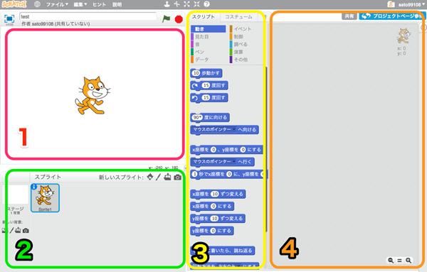 Scratchの画面構成