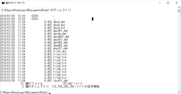 コマンドプロンプトでフォルダ内のファイル群を表示した画像