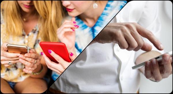 おじさんと女の子がスマートフォンを使う様子のイメージ画像
