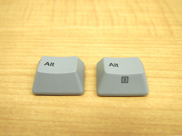 REALFORCE A、REALFORCE SAの [Alt]キーは刻印で見分けが付きます。