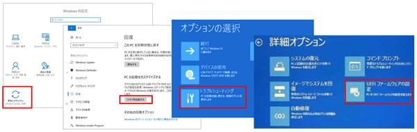 UEFIファームウェアの設定の選択までの画面遷移