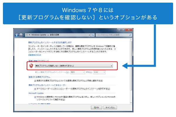 Windows7のWindows Update有効/無効設定画面