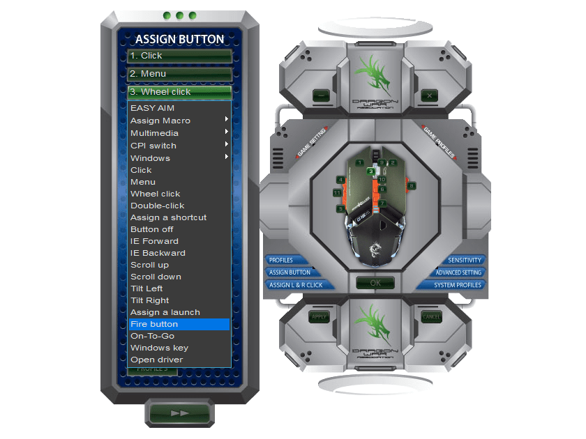 Wheel clickに対して、変更する項目Fire buttonを選択します。