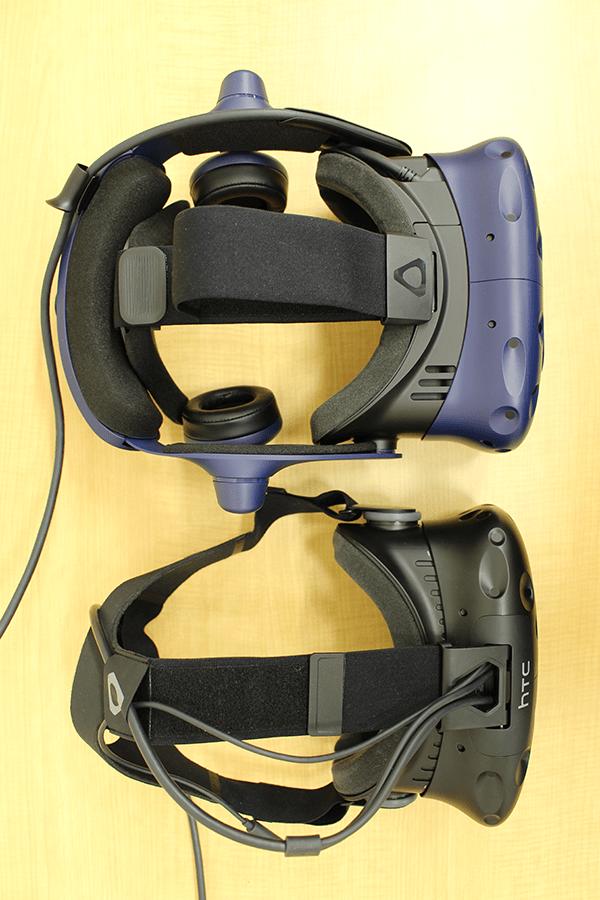 HMDに接続されているケーブルは頭頂部から頭部を支えるシャーシの脇に添う形となり、ケーブル周りがスッキリとしている