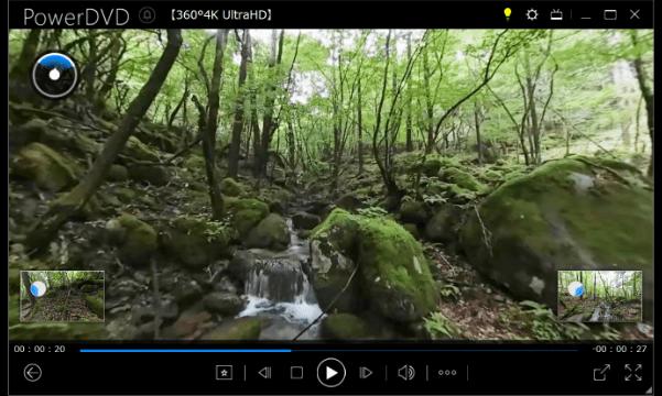 360°動画の再生:画面左下と右下にそれぞれ左後、右後の映像が表示されます。