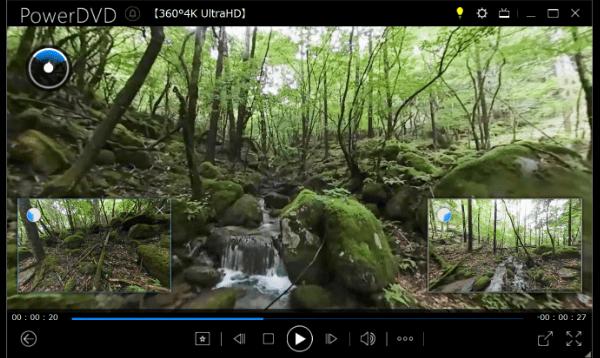 360°動画の再生:左後、右後のウィンドウサイズは任意に変更可能です。(画像は最大にした状態です。)