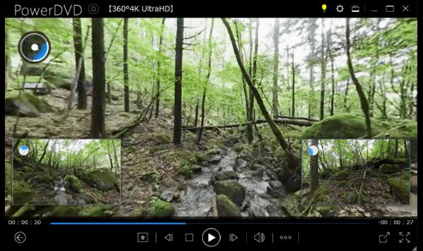 360°動画の再生:左後、右後のウィンドウをクリックすると瞬時にメイン表示に切り替わります。