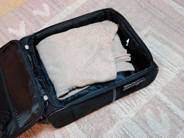 縮前のセーターとダウンジャケットを普通にキャリングケースへ入れたところ