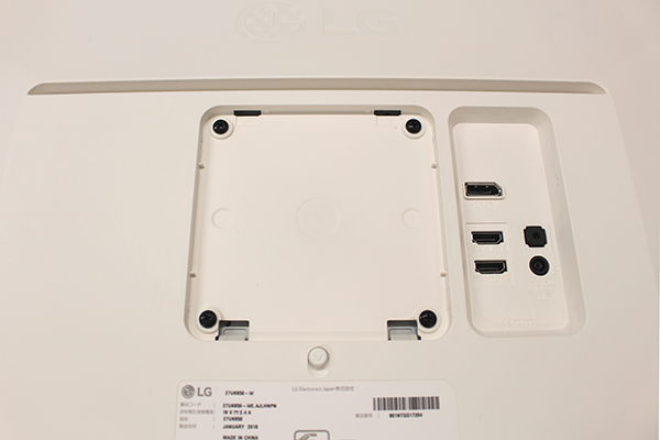 LG 27UK650-Wは100mm×100mmのVESA規格に対応