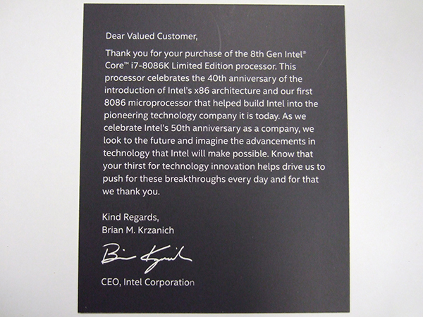 同封の8086 40年とインテル社誕生50年の感謝を伝える台紙