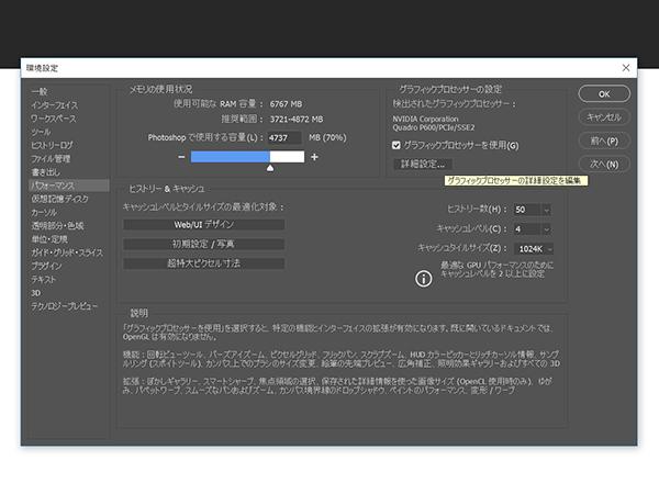 グラフィックプロセッサーの設定内の「詳細設定」ボタンをクリック