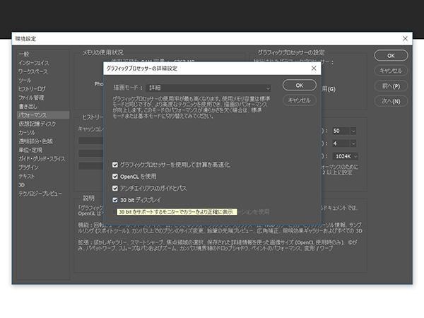グラフィックプロセッサーの詳細設定メニューが開くので、描画モードのプルダウンメニューより「標準」もしくは「詳細」を選択し、「30bitディスプレイ」にチェックを入れる