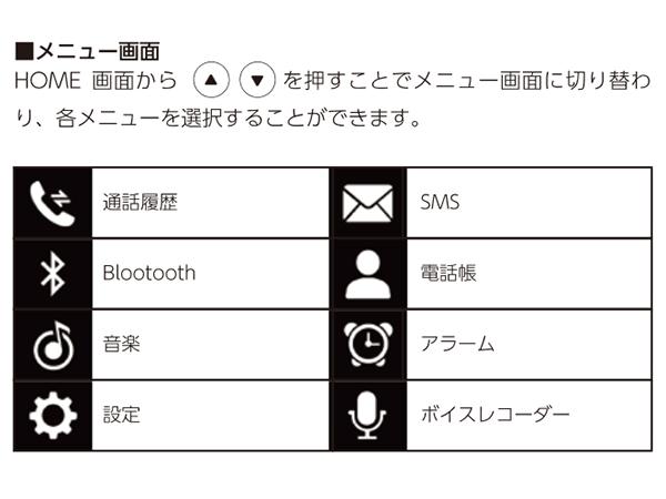 「NichePhone-S」▲▼ボタンを押すと表示されるアイコン類