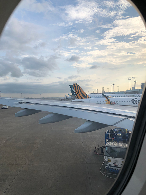 飛行機の中から空港を撮影