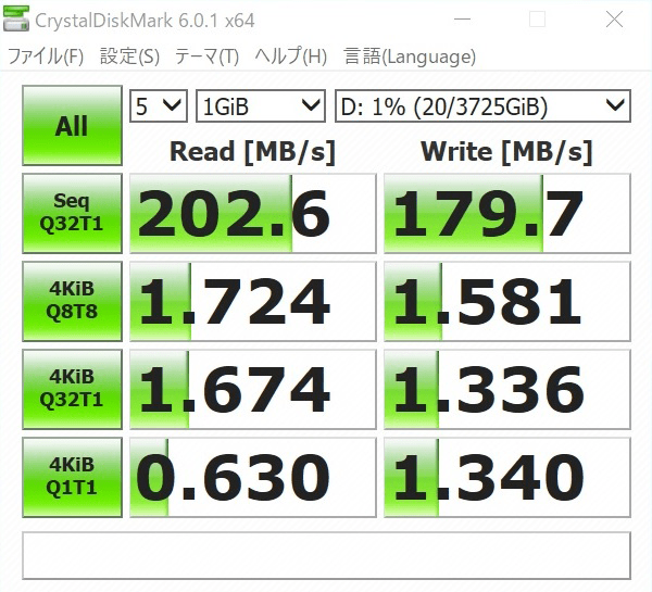 検証機のOptaneメモリー無効時のHDDパフォーマンスをCrystalDiskMarkで計測