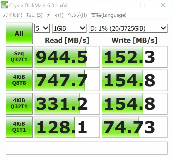 検証機のOptaneメモリー有効時のHDDパフォーマンスをCrystalDiskMarkで計測