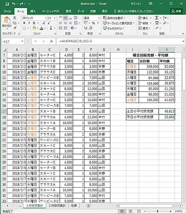 土日の平均販売額、平日の平均販売額を計算する