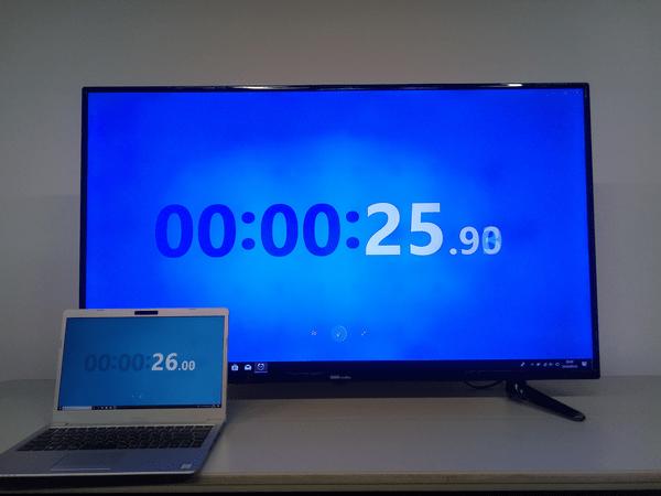 ワイヤレスディスプレイの表示延滞は約0.1秒