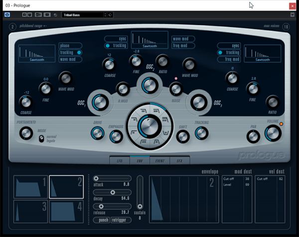 Cubase Elementsに付属しているソフトウェア音源「Prologue」