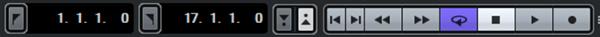 左の数字で設定した開始と終了場所で再生するサイクルボタン