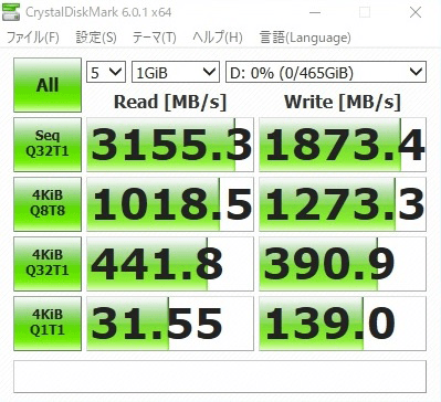 CrystalDiskMark測定値:SAMSUNG 960 EVO (500GB)