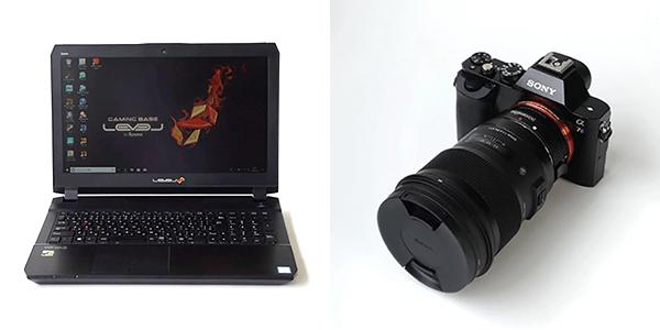 ノートパソコンとカメラ