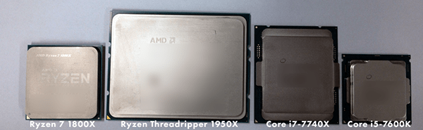 ヒートスプレッダー側から見た「Ryzen Threadripper」と「Ryzen 7」、「Core X(LGA2011)」「Core i5(LGA1151)」