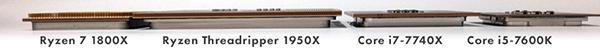 横から見た「Ryzen Threadripper」と「Ryzen 7」、「Core X(LGA2011)」「Core i5(LGA1151)」