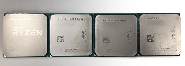 ヒートスプレッダー側から見た「Ryzen」と「第7世代APU Aシリーズ」、「AMD FXシリーズ」「第6世代APU Aシリーズ」