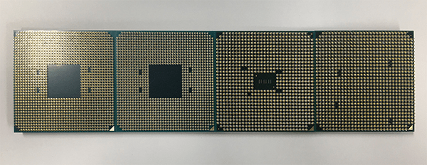 ピン側から見た「Ryzen」と「第7世代APU Aシリーズ」、「AMD FXシリーズ」「第6世代APU Aシリーズ」