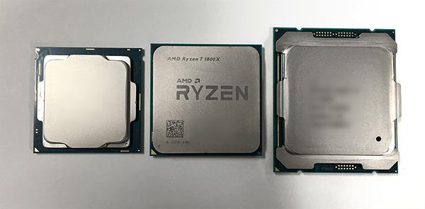 ヒートスプレッダー側から見た「Ryzen」とインテルCore i7-7700、インテルCore i7-6800K