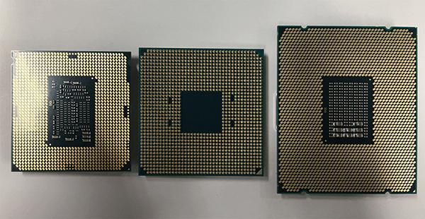 ピン側から見た「Ryzen」とインテルCore i7-7700、インテルCore i7-6800K