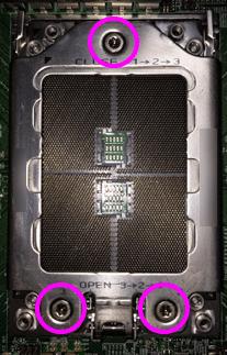 Socket TR4のCPUソケットの固定ネジ3か所