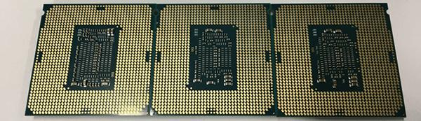 CPU裏面:左からCoffee Lake「Core i7-8700K」、Kaby Lake「Core i7-7700K」、Skylake「Core i7-6700K」