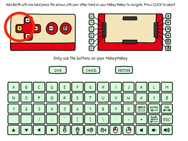 まずEARTHと左矢印を触って割り当てを変更したいキーを選べる状態にし、「CLICKキー」を選ぶ