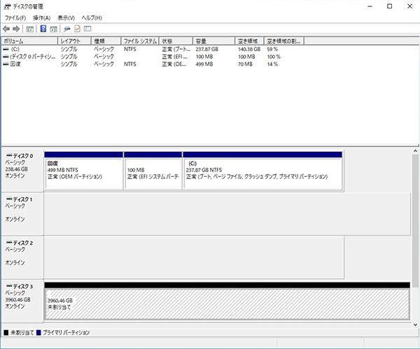 ディスク1とディスク2が合算された形で、新たにディスク3が作成されています。