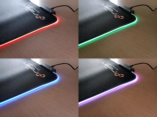 ゲーミングマウスパッド LEV-RGB-DM01/BKのLEDを発光(赤、緑、青、紫)