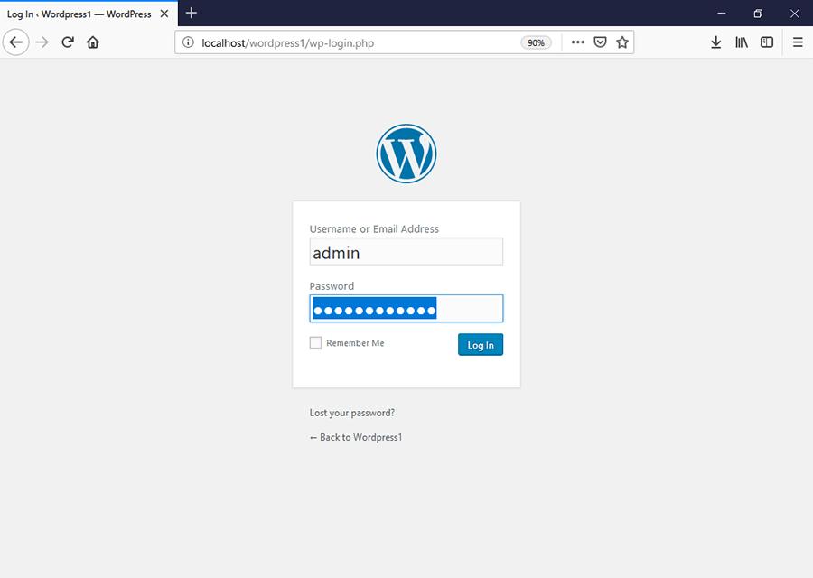 WordPressのログイン画面。先ほど設定したユーザー名とパスワードを入力する