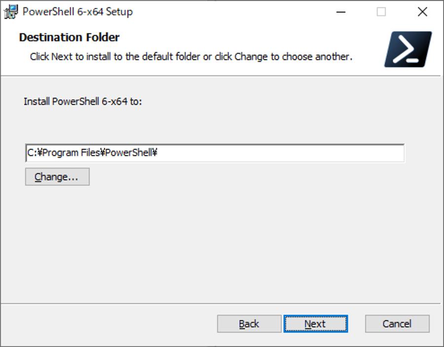 インストール先の選択画面で、デフォルトでよければ [Next] ボタンをクリックする