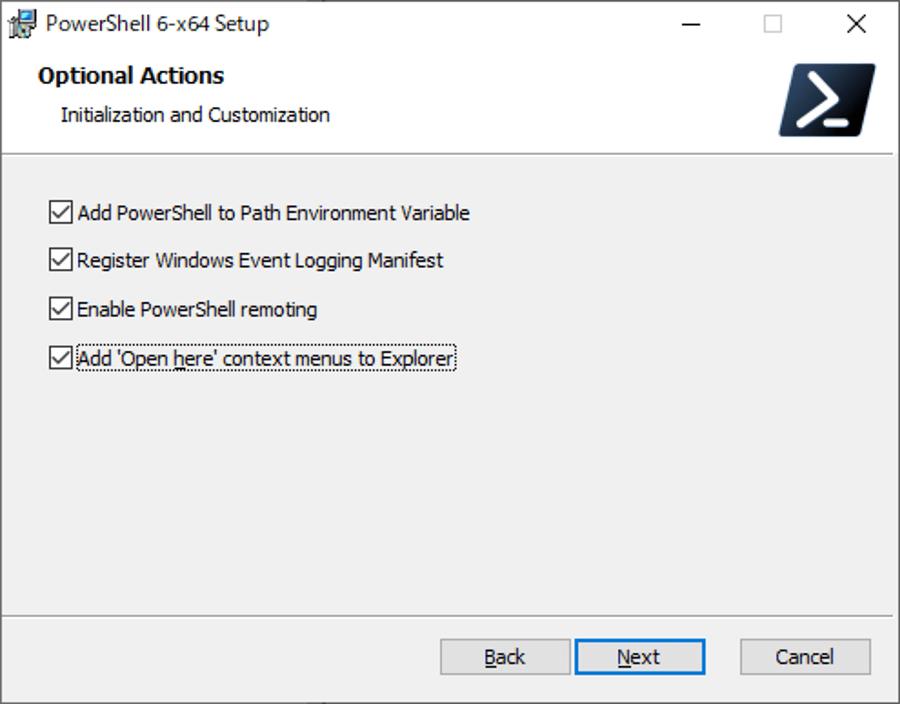 オプションの選択画面で全部にチェックを付けて、[Next] ボタンをクリックする