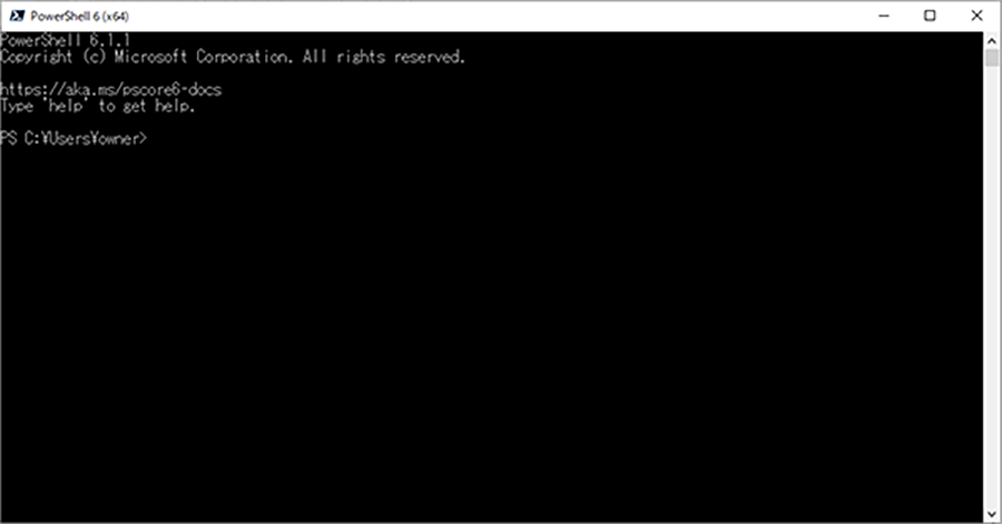PowerShell Core 6.1.1の起動画面