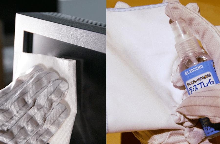 専用クリーニングティッシュ(左)や専用クリーナー(右)を使って拭き掃除をする
