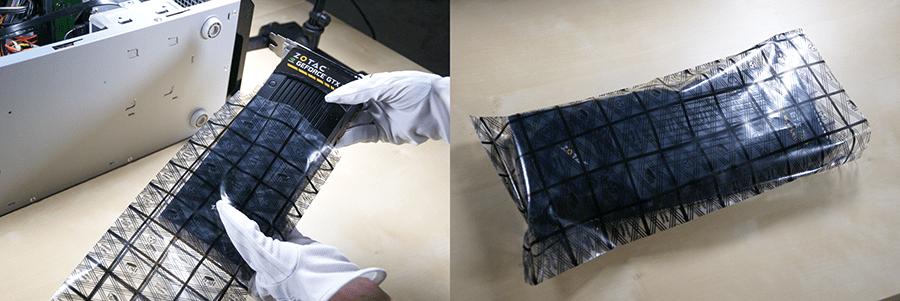 基板の入った部品を外した場合は静電気防止袋に入れておく