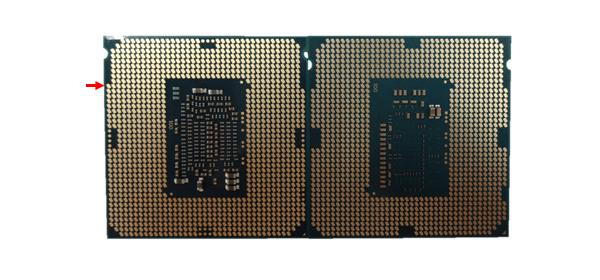 CPUピン側:左がSkylake「Core i7-6700K」、右がBroadwell「Core i7-5775C」